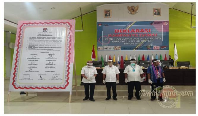 Paslon Pilkada Bintuni AYO – PMK2, Deklarasi Kampanye Damai dan Tandatangan Pakta Integritas