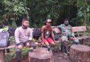 Komsos, Babinkamtibmas dan Babinsa Tagaromi Sambangi Pekerja Kayu Olahan di Hutan Tangaromi
